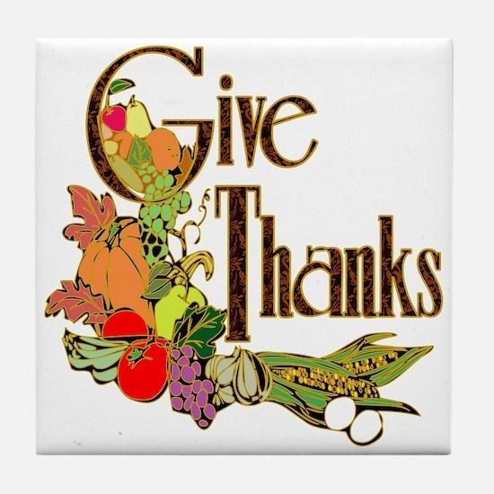 Give Thanks Tile Coaster