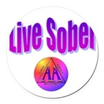 live-sober-aa Round Car Magnet