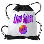 live-sober-aa Drawstring Bag