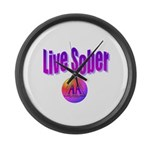 live-sober-aa Large Wall Clock
