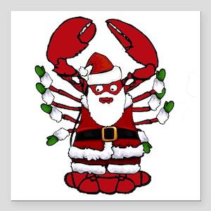 "Christmas Santa Lobster Square Car Magnet 3"" x 3"""