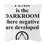 Fear is the Darkroom..... Woven Throw Pillow