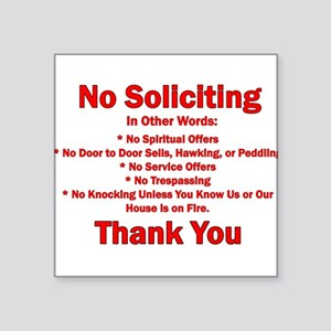 "No Soliciting Square Sticker 3"" x 3"""