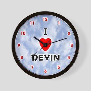 I Love Devin (Red/Blk) Valentine Wall Clock