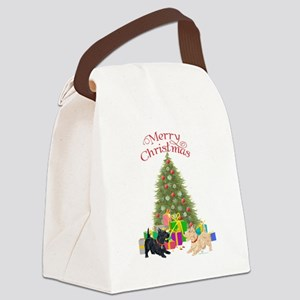 Christmas Scottie Dogs Canvas Lunch Bag