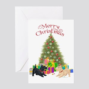 Christmas Scottie Dogs Greeting Card