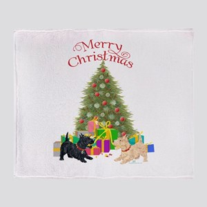 Christmas Scottie Dogs Throw Blanket