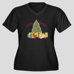 Scottie Dog Women's Plus Size V-Neck Dark T-Shirt
