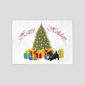 Scottie Dog Christmas 5'x7'Area Rug