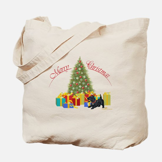 Scottie Dog Christmas Tote Bag