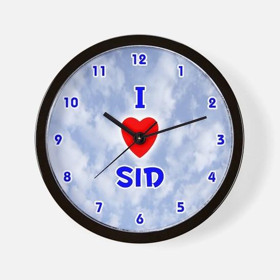 I Love Sid (Blue) Valentine Wall Clock