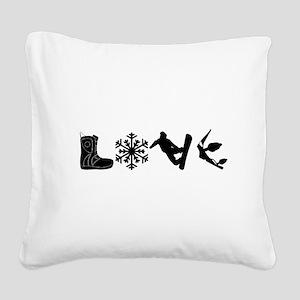 Snowboarding Love Square Canvas Pillow
