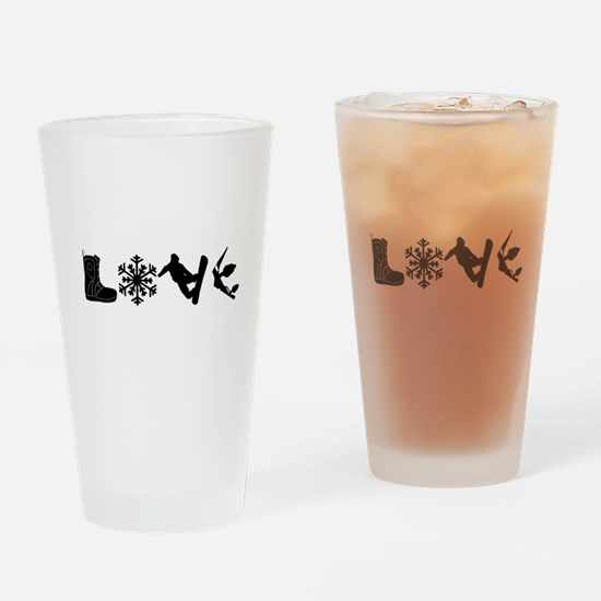 Snowboarding Love Drinking Glass