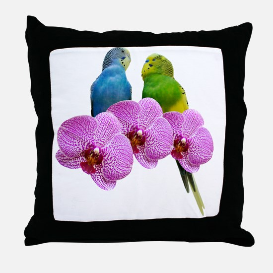 Unique Blue parakeet Throw Pillow