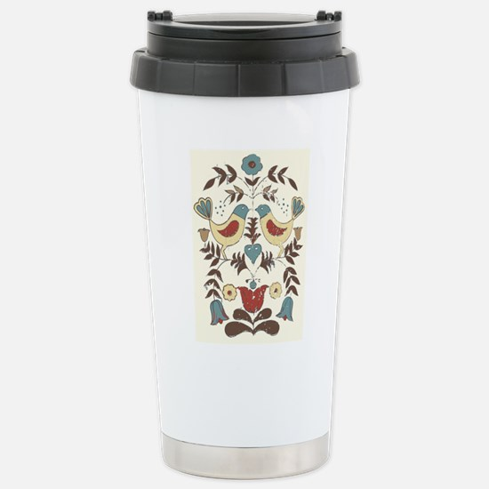 Pennsylvania Dutch Country Birds Design Travel Mug