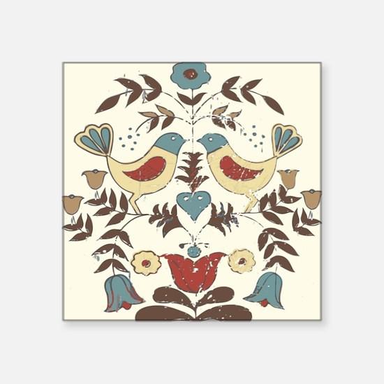 Pennsylvania Dutch Country Birds Design Sticker