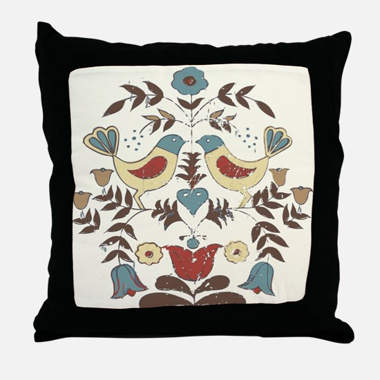 Pennsylvania Dutch Country Birds Design Throw Pill