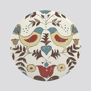 Pennsylvania Dutch Country Birds Design Round Orna