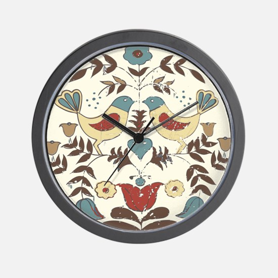 Pennsylvania Dutch Country Birds Design Wall Clock