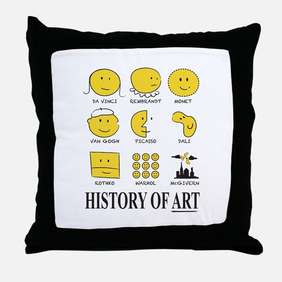 History of Art Smileys Throw Pillow