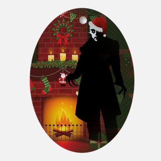christmas nosferatu Oval Ornament