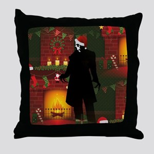 christmas nosferatu Throw Pillow