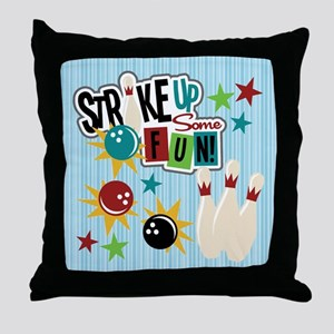 Bowling Sports Fun Throw Pillow