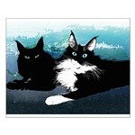 2 Cats Small Poster