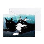 2cats In Blue Card Greeting Cards