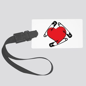 Safety Pin Heart Large Luggage Tag