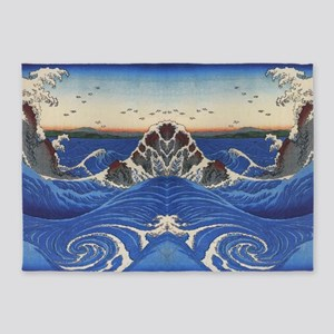 Angry Sea from Hirshige 5'x7'Area Rug