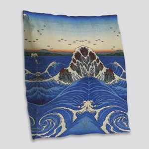 Angry Sea from Hirshige Burlap Throw Pillow
