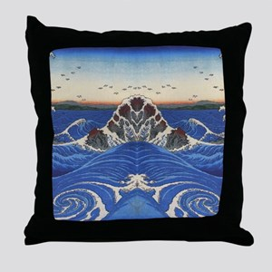 Angry Sea from Hirshige Throw Pillow