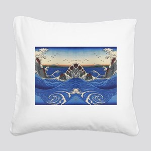 Angry Sea from Hirshige Square Canvas Pillow