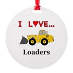I Love Loaders Round Ornament
