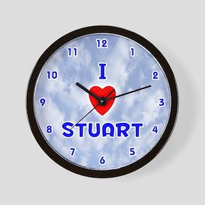 I Love Stuart (Blue) Valentine Wall Clock