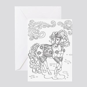 Prancing Paisley Horse Design Card Greeting Cards