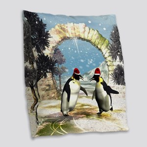 Funny penguins with christmas hat Burlap Throw Pil