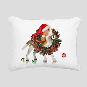 Beagle Christmas Bells Rectangular Canvas Pillow