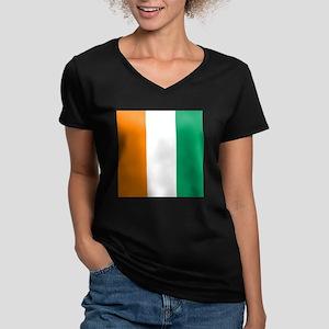 Ivory Coast Flag Women's V-Neck Dark T-Shirt