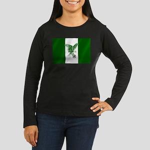 Nigerian Football Flag Women's Long Sleeve Dark T-