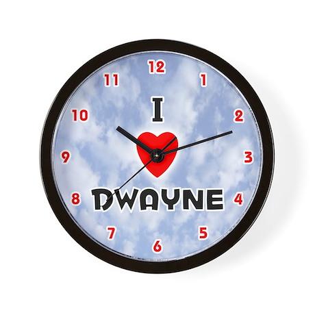 I Love Dwayne (Red/Blk) Valentine Wall Clock