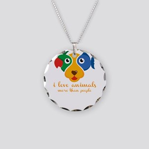 i love animals more than peo Necklace Circle Charm