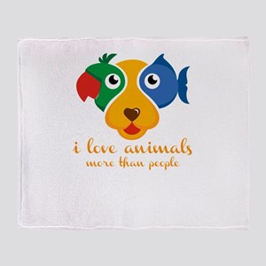 i love animals more than people Throw Blanket