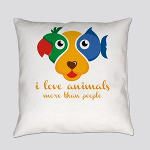 i love animals more than people Everyday Pillow