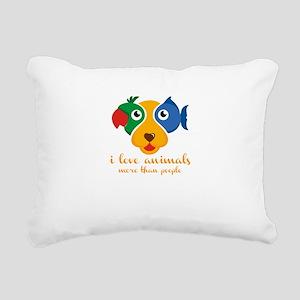 i love animals more than Rectangular Canvas Pillow