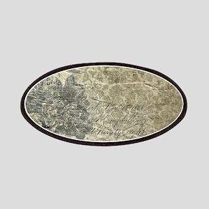 Antique Vintage Grunge Floral Grey Patch