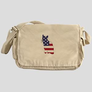 American Flag - Cat Messenger Bag