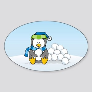 Little penguin sitting with snowballs on snow Stic