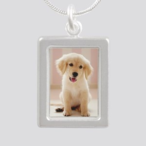 Golden Retriever Pup Silver Portrait Necklace